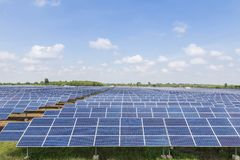 Solar cells in power station energy from the sun Royalty Free Stock Photography