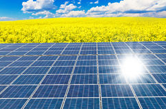 Solar cells and rape field Royalty Free Stock Images