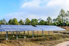Solar cells for renewable solar energy with sun Royalty Free Stock Photos