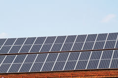 Solar Cells on a roof Royalty Free Stock Photos