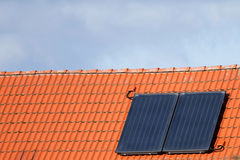 Solar cells on a roof Royalty Free Stock Image