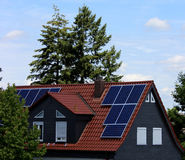 Solar cells on a roof Stock Photo