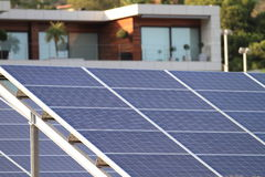 Solar cells row stock photo