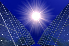 Solar Cells and Sun Royalty Free Stock Images