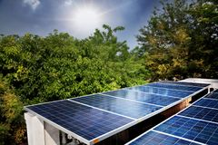 Solar cells. Were installed on the home alternative battery beautiful blue clean color concept conservation ecology electricity energy environment environmental stock photo