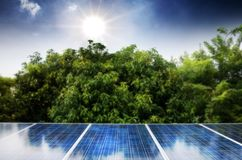 Solar cells. Were installed on the home alternative battery beautiful blue clean color concept conservation ecology electricity energy environment environmental stock photography