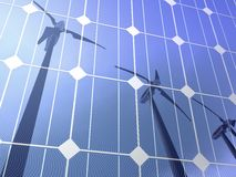 Solar cells wind turbines. Illustration of solar cells reflecting silhouettes of wind turbines Stock Photography