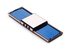 Solar charger. Portable solar charger on a white background royalty free stock images