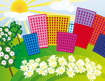 Solar city among the flowers Royalty Free Stock Images