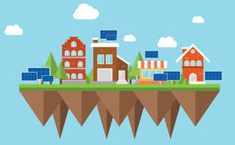 Solar city. Solarcity musk concept sustainable energy electricity stock illustration