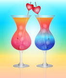 Solar cocktail for lovers on the beach. Royalty Free Stock Photos
