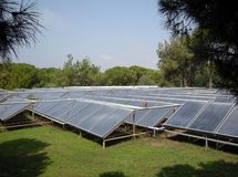 Solar collector. S on green grass Stock Photography