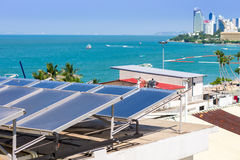 Solar Collector / Solar water heating system on the roof hotel Stock Image