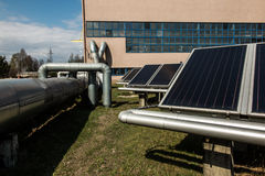 Solar collectors in the heat Royalty Free Stock Photography