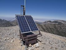 Solar Communication Station. Mountaintop solar weather communication station on top of 11,900 foot Mt. Charleston in the deserts of Nevada Stock Image