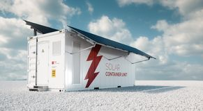 Solar container unit. 3d rendering concept of a white industrial battery energy storage container with mounted black solar panels. Situated on white gravel in stock illustration