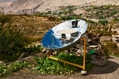 Solar cooker. In the Himalaya mountains of Nepal Royalty Free Stock Images