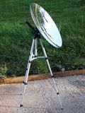 Solar Cooking converted satellite dish Parabolic mirror dish on a stand for solar cooking. Solar Cooking converted satellite dish Parabolic mirror dish on a stock image