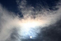 Solar disk at noon through the clouds. The solar disk at noon through the clouds royalty free stock images