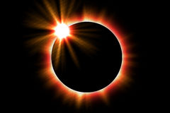 Solar Eclips. Illustration of a solar eclipse of the sun Stock Photo
