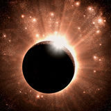 Solar eclipse. Against brilliant star field royalty free illustration
