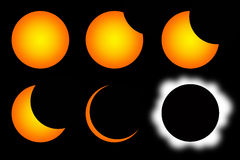 Solar eclipse. Different stages of a solar eclipse Royalty Free Stock Photography