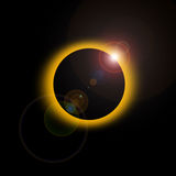 Solar eclipse. An annular eclipse occurs when the Sun and Moon are exactly in line, but the apparent size of the Moon is smaller than that of the Sun. Hence the Royalty Free Stock Photo