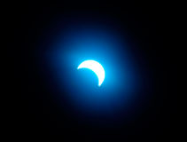 Solar eclipse 8. Blue solar eclipse, abstract light effect stock photo