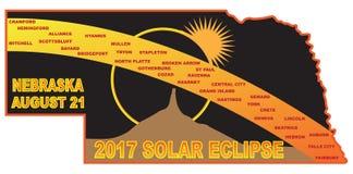 2017 Solar Eclipse Across Nebraska Cities Map vector Illustration Royalty Free Stock Image