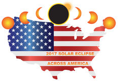 2017 Solar Eclipse Across USA Map vector Illustration. 2017 Solar Eclipse Totality across America USA map color vector illustration Royalty Free Illustration