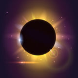 Solar eclipse, astronomical phenomenon - full sun eclipse. Blurred light rays and lens flare backdrop. Glow light effect Royalty Free Stock Photo