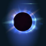 Solar eclipse, astronomical phenomenon - full sun eclipse. Blurred light rays and lens flare backdrop. Glow light effect Stock Photo