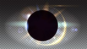 Solar eclipse, astronomical phenomenon - full sun eclipse. The planet covering the Space star,  on transparent Royalty Free Stock Photos