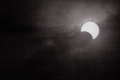 Solar eclipse with black and white backgrounds Stock Photos