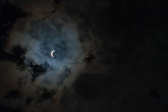 Solar Eclipse with Clouds Royalty Free Stock Images