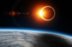 Solar Eclipse and Earth stock illustration