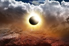Solar Eclipse . Fantasy Apocalypse . Colorful solar eclipse . Religion background . Dramatic nature background . Light in dark sky . Eclipse of the sun in royalty free stock photo