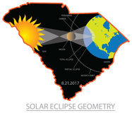 2017 Solar Eclipse Geometry Across South Carolina Cities Map Ill Royalty Free Stock Images