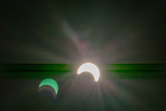 Solar eclipse with light effects backgrounds Royalty Free Stock Image