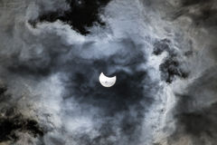 Solar eclipse of March 20th. The maximum of the solar eclipse of March the 20th 2015, as seen under the cloudy sky in Athens Greece Stock Images