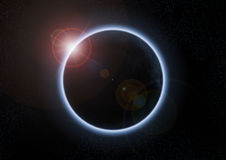 Solar eclipse with moon between earth and sun Royalty Free Stock Photo