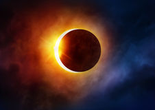 Solar Eclipse. The moon moving in front of the sun. Illustration stock photography