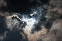 Solar Eclipse 59 percent as seen in Lviv Ukraine Stock Photos