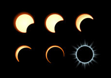 Solar eclipse. Phase of the solar eclipse. Moon covers the solar disk vector illustration