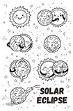 Solar eclipse in phases. Outline set. Solar Eclipse in phases. Cartoon moon does yoga when it completely covers the happy sun. Black and white coloring page Royalty Free Stock Photos
