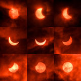 Solar eclipse. Phases. Taken with IR filter royalty free stock photography