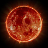 Solar eclipse. Red moon over sun. Royalty Free Stock Photography