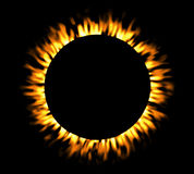 Solar eclipse, round fire frame. Solar eclipse, round fire frame, shining circle banner Stock Photo