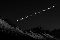 Solar Eclipse Sequence in Iceland Royalty Free Stock Images