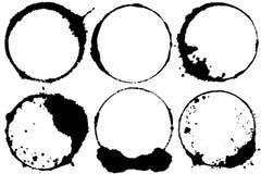 Solar eclipse. Set of brush stroke circles. Stock Images